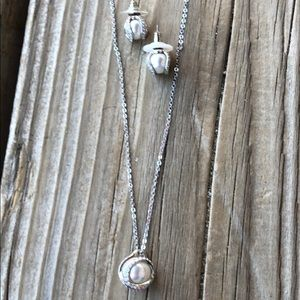 Swarovski Faux Pearl Caged Necklace & Earrings!